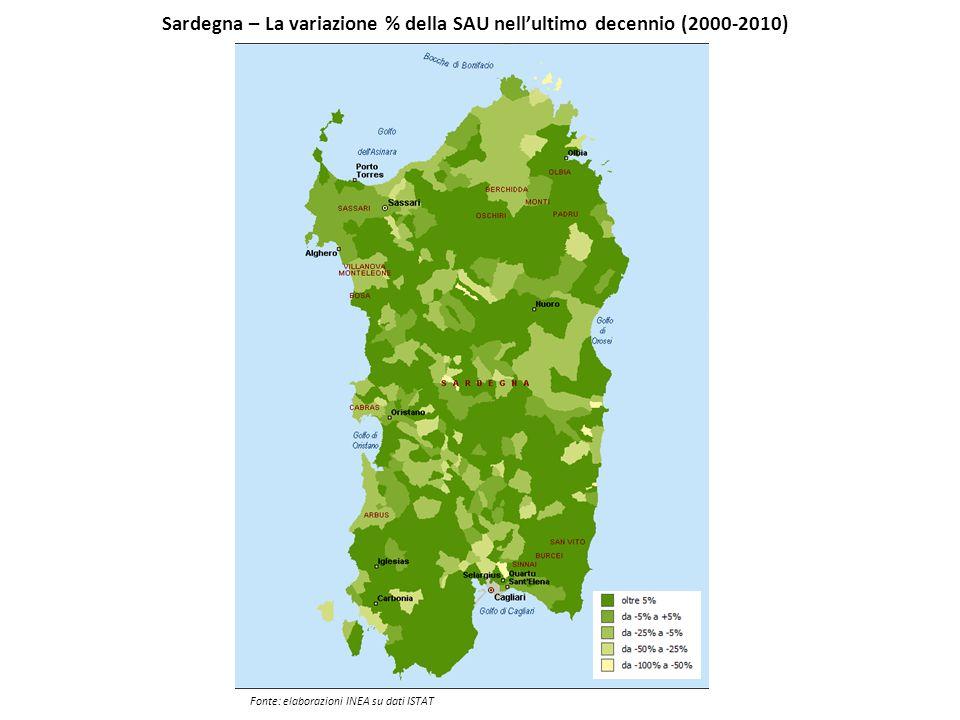 Sardegna – La variazione % della SAU nell'ultimo decennio (2000-2010)