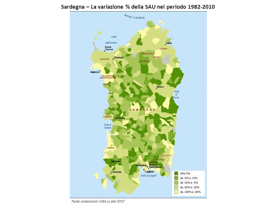 Sardegna – La variazione % della SAU nel periodo 1982-2010