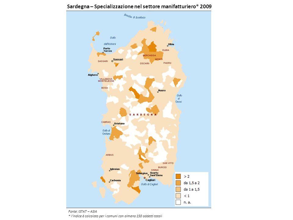 Sardegna – Specializzazione nel settore manifatturiero* 2009