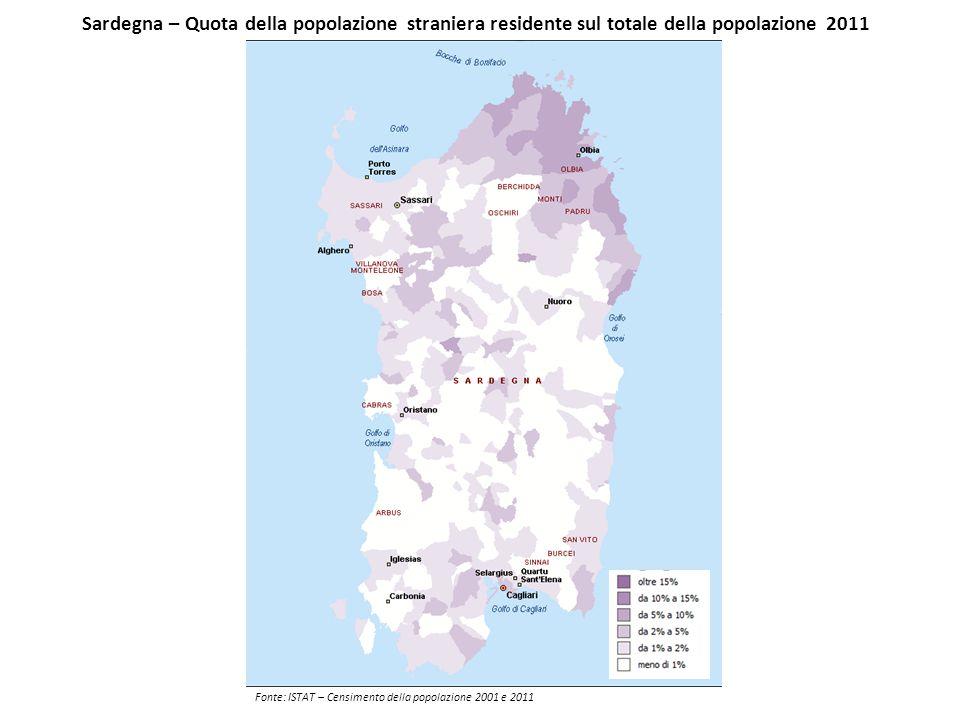 Sardegna – Quota della popolazione straniera residente sul totale della popolazione 2011