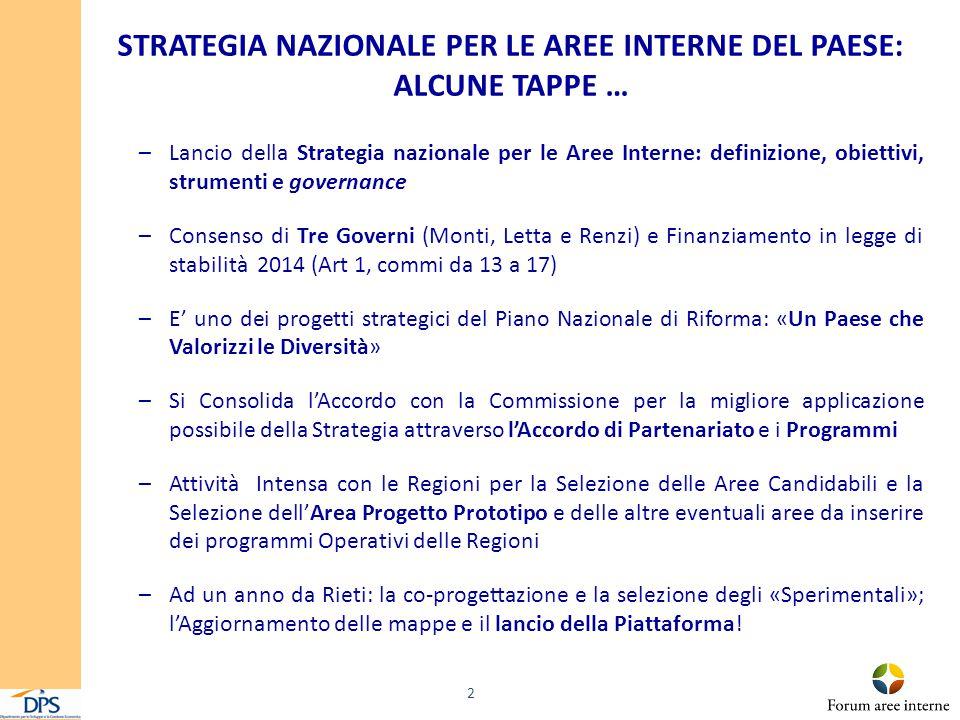 STRATEGIA NAZIONALE PER LE AREE INTERNE DEL PAESE: