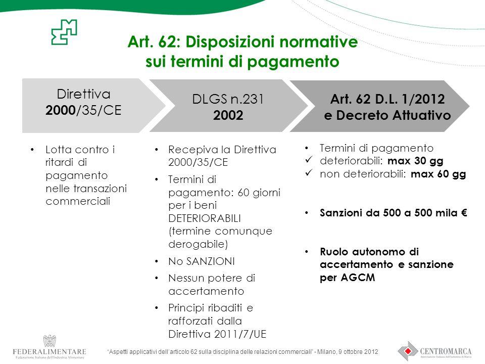 Art. 62: Disposizioni normative sui termini di pagamento
