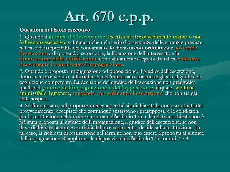 Art. 670 c.p.p. Questioni sul titolo esecutivo.