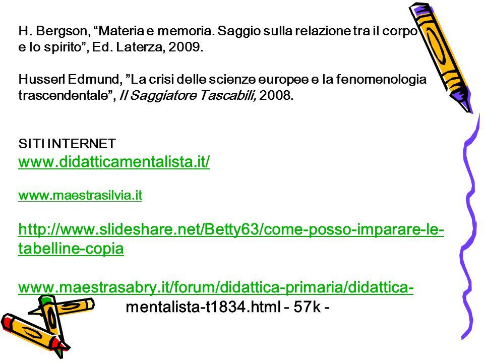H. Bergson, Materia e memoria