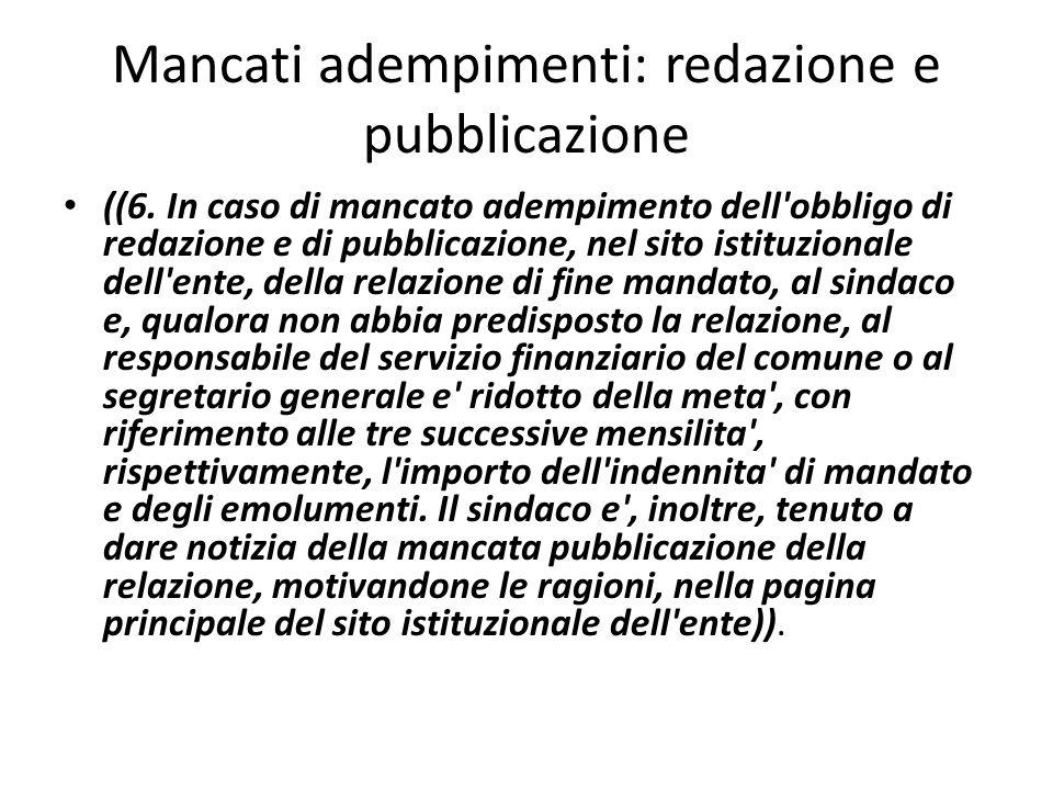 Mancati adempimenti: redazione e pubblicazione