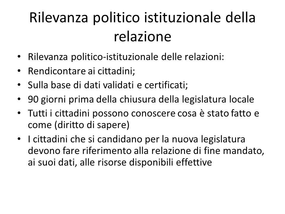 Rilevanza politico istituzionale della relazione