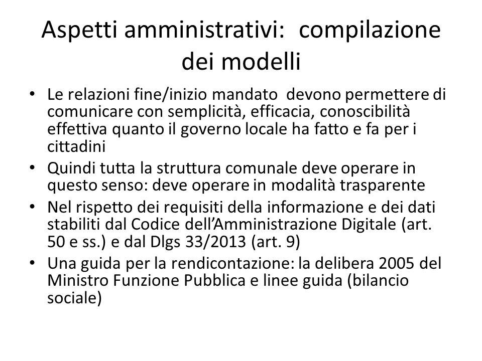 Aspetti amministrativi: compilazione dei modelli