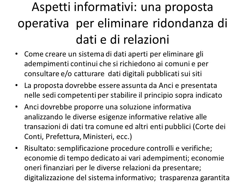 Aspetti informativi: una proposta operativa per eliminare ridondanza di dati e di relazioni