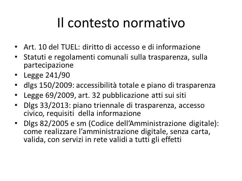 Il contesto normativo Art. 10 del TUEL: diritto di accesso e di informazione. Statuti e regolamenti comunali sulla trasparenza, sulla partecipazione.