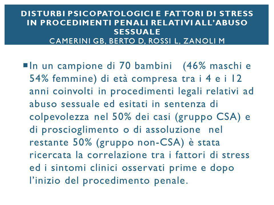 Disturbi psicopatologici e fattori di stress in procedimenti penali relativi all'abuso sessuale Camerini GB, Berto D, Rossi L, Zanoli M