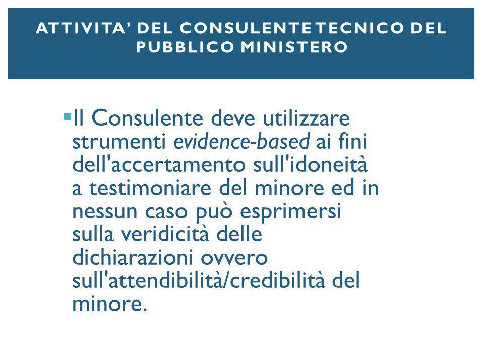 Attivita' del Consulente Tecnico del Pubblico Ministero