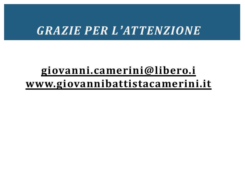 Grazie per l'attenzione giovanni. camerini@libero. i www