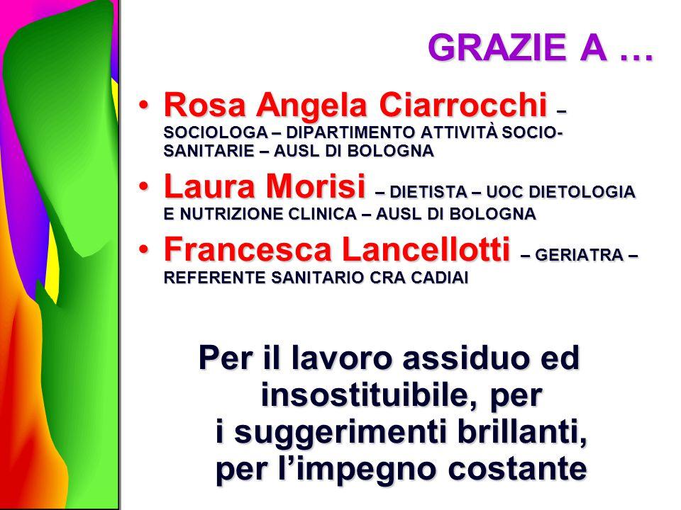 GRAZIE A … Rosa Angela Ciarrocchi – SOCIOLOGA – DIPARTIMENTO ATTIVITÀ SOCIO-SANITARIE – AUSL DI BOLOGNA.