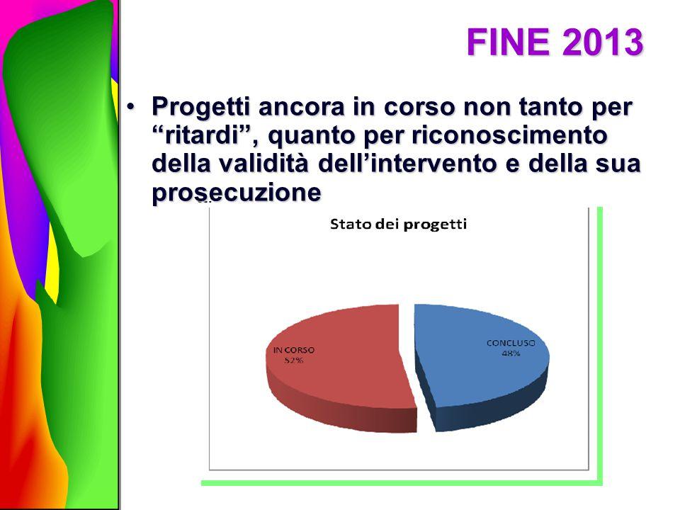FINE 2013 Progetti ancora in corso non tanto per ritardi , quanto per riconoscimento della validità dell'intervento e della sua prosecuzione.