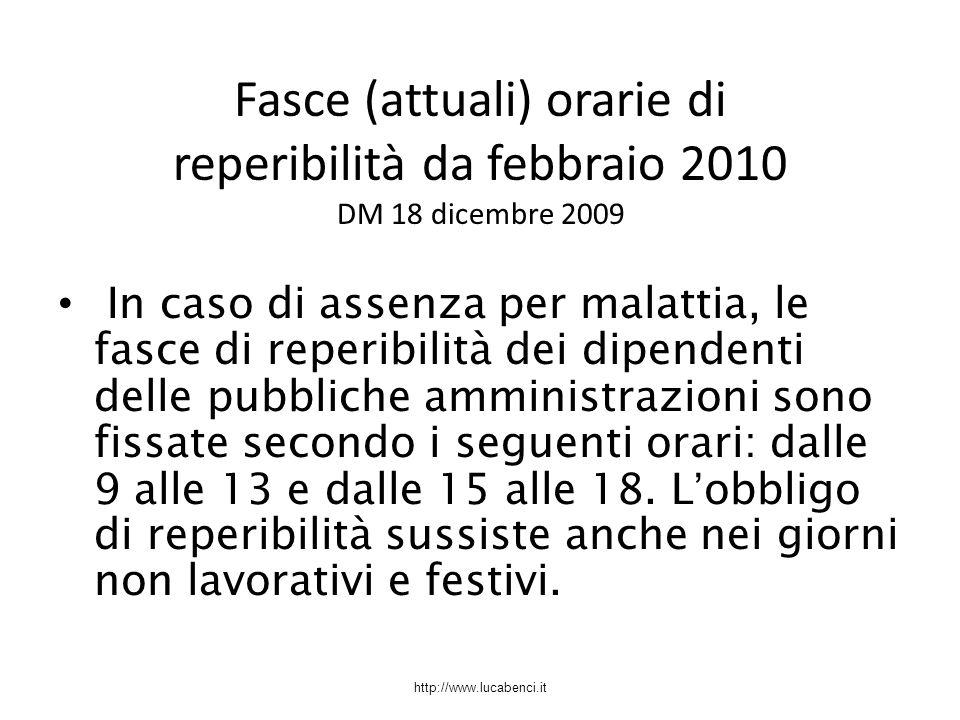 Fasce (attuali) orarie di reperibilità da febbraio 2010 DM 18 dicembre 2009
