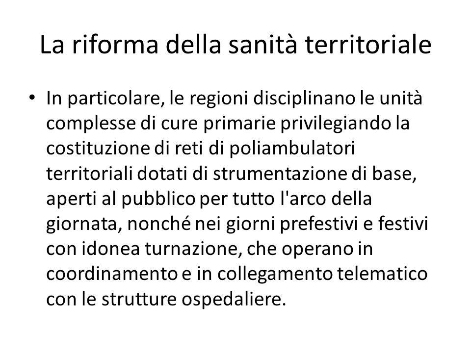 La riforma della sanità territoriale