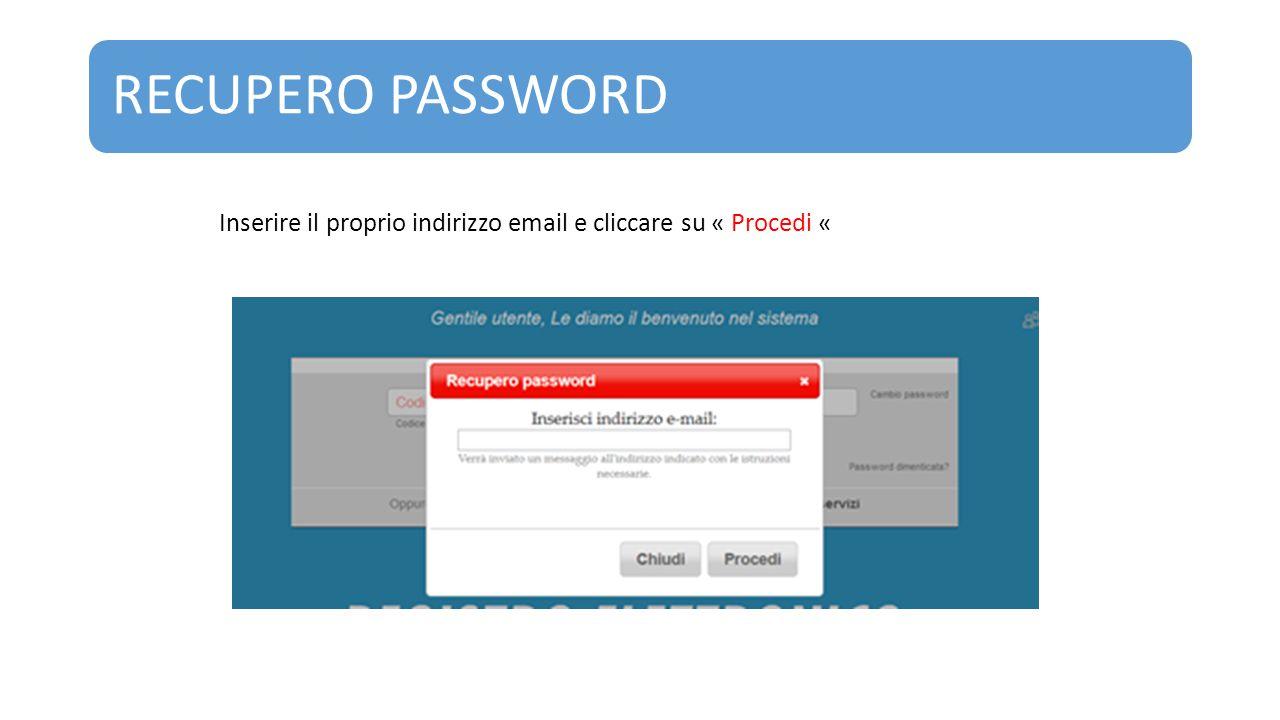 RECUPERO PASSWORD Inserire il proprio indirizzo email e cliccare su « Procedi «