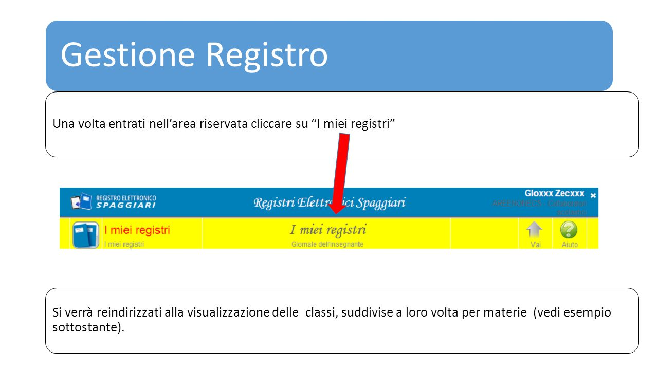 Gestione Registro Una volta entrati nell'area riservata cliccare su I miei registri