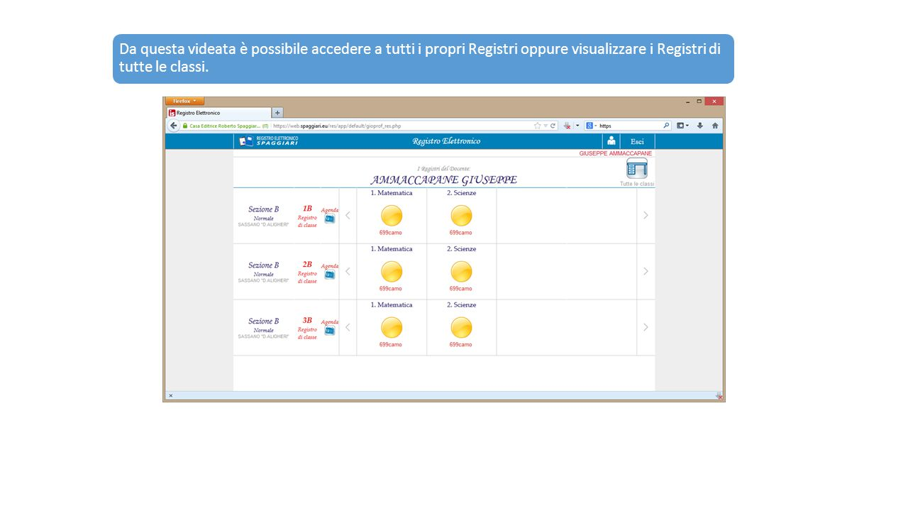 Da questa videata è possibile accedere a tutti i propri Registri oppure visualizzare i Registri di tutte le classi.