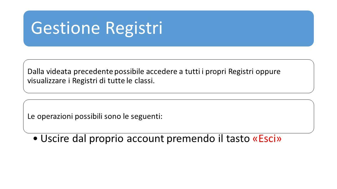Gestione Registri Uscire dal proprio account premendo il tasto «Esci»