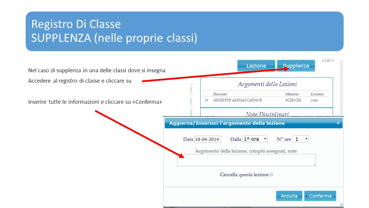 Registro Di Classe SUPPLENZA (nelle proprie classi)