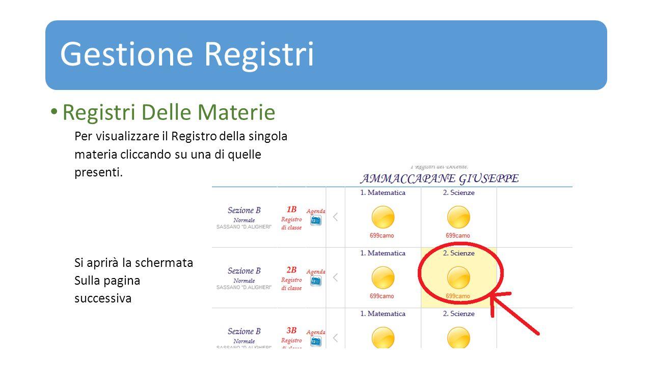 Gestione Registri Registri Delle Materie