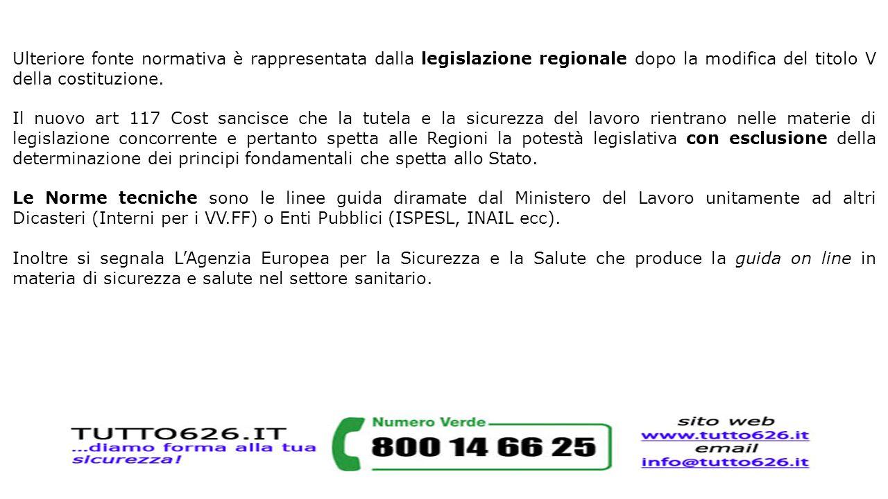 Ulteriore fonte normativa è rappresentata dalla legislazione regionale dopo la modifica del titolo V della costituzione.