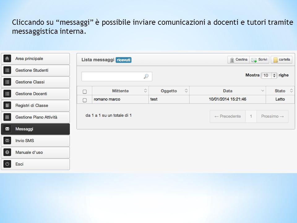 Cliccando su messaggi è possibile inviare comunicazioni a docenti e tutori tramite