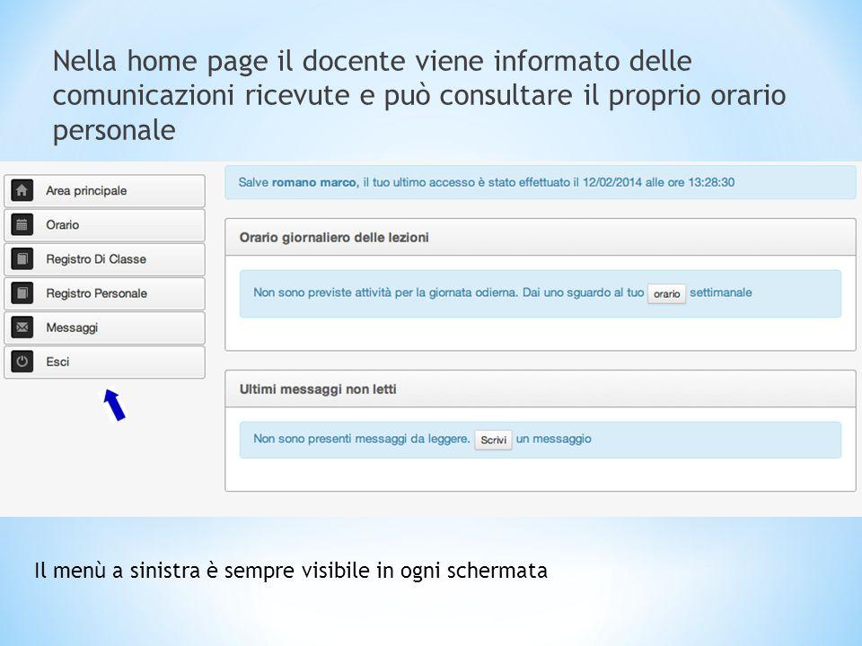 Nella home page il docente viene informato delle comunicazioni ricevute e può consultare il proprio orario personale