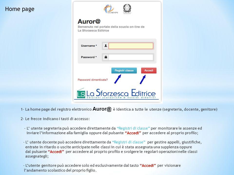 Home page 1- La home page del registro elettronico Auror@ è identica a tutte le utenze (segreteria, docente, genitore)