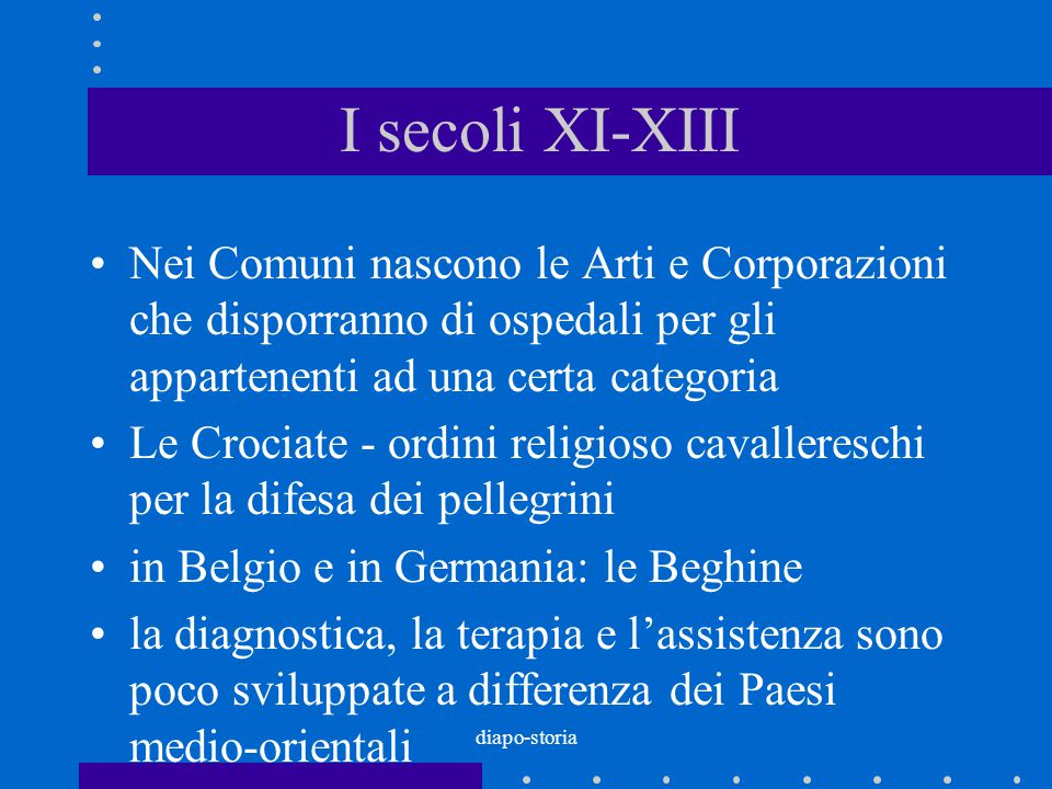I secoli XI-XIII Nei Comuni nascono le Arti e Corporazioni che disporranno di ospedali per gli appartenenti ad una certa categoria.