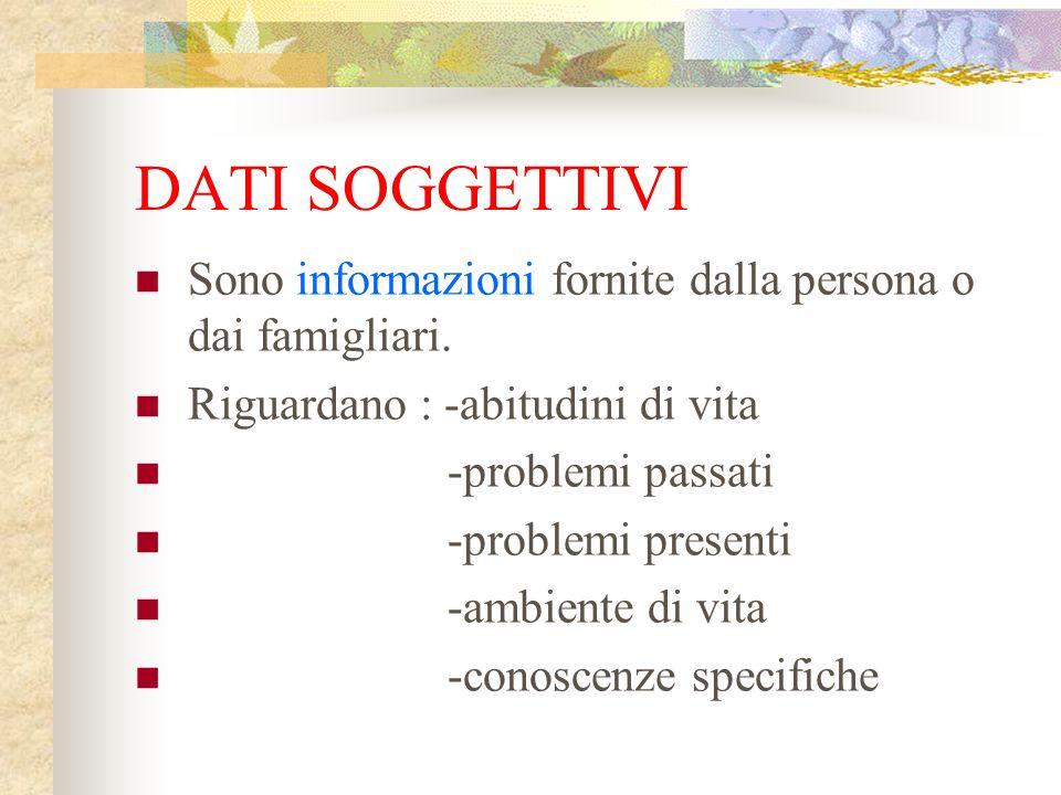 DATI SOGGETTIVI Sono informazioni fornite dalla persona o dai famigliari. Riguardano : -abitudini di vita.