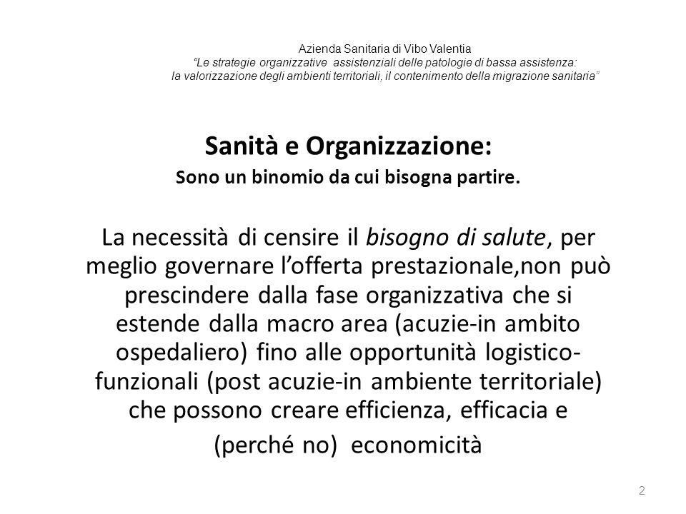 Sanità e Organizzazione: Sono un binomio da cui bisogna partire.