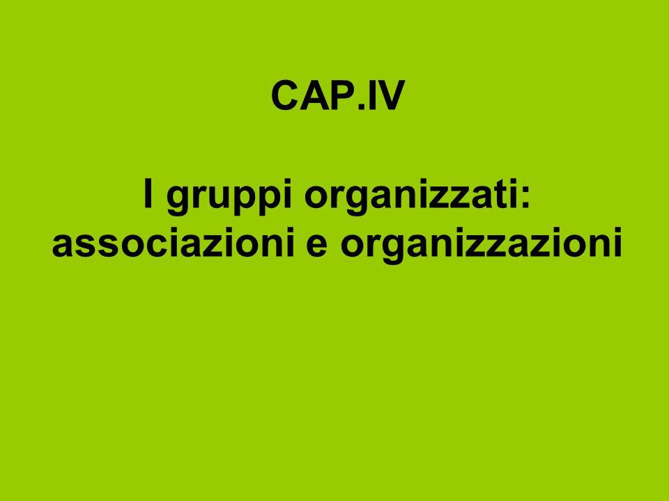 CAP.IV I gruppi organizzati: associazioni e organizzazioni