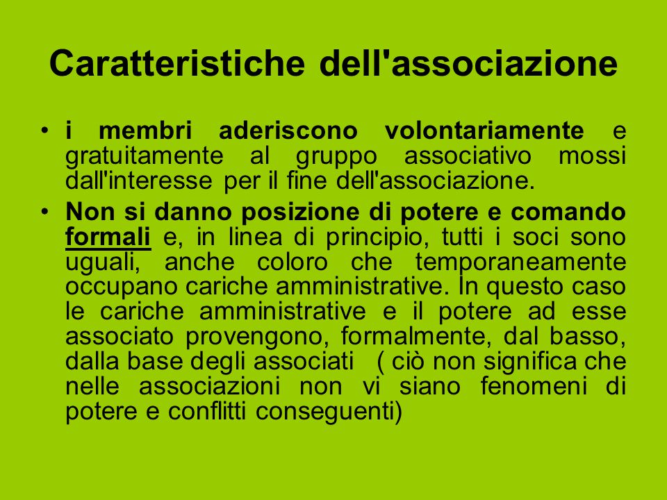 Caratteristiche dell associazione