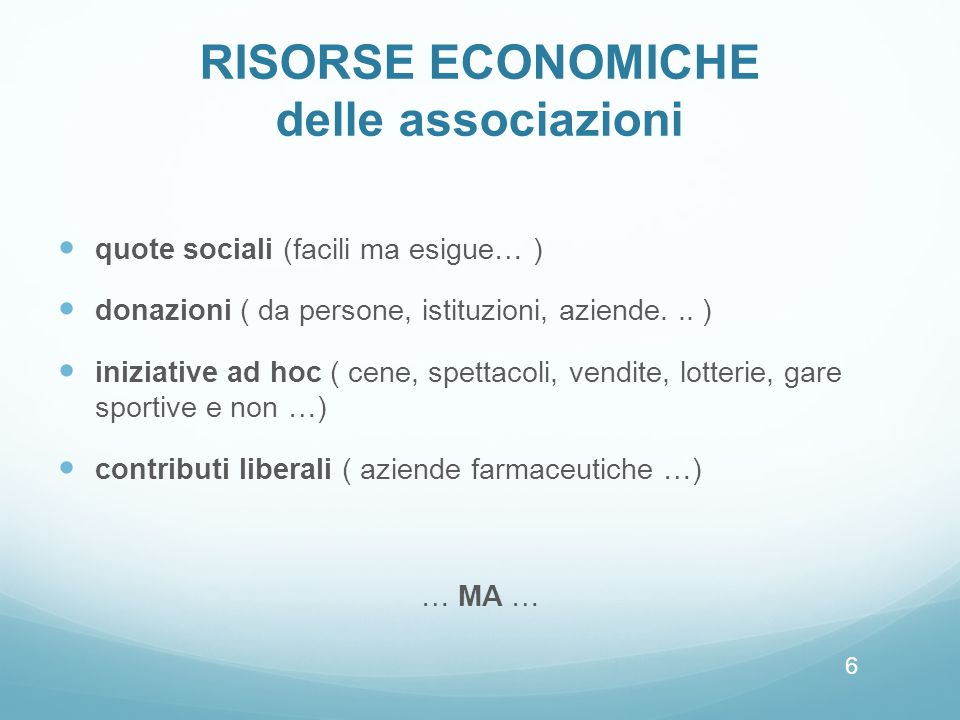 RISORSE ECONOMICHE delle associazioni
