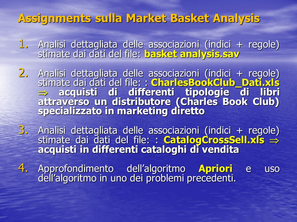 Assignments sulla Market Basket Analysis