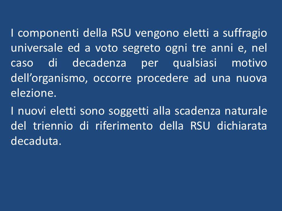 I componenti della RSU vengono eletti a suffragio universale ed a voto segreto ogni tre anni e, nel caso di decadenza per qualsiasi motivo dell'organismo, occorre procedere ad una nuova elezione.