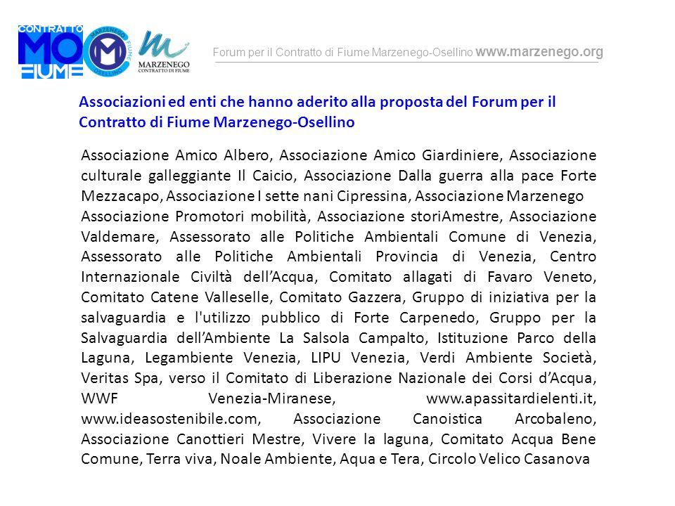 Associazioni ed enti che hanno aderito alla proposta del Forum per il Contratto di Fiume Marzenego-Osellino