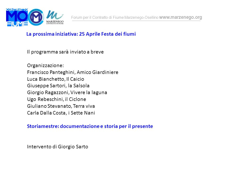 La prossima iniziativa: 25 Aprile Festa dei fiumi