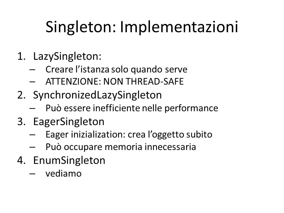 Singleton: Implementazioni