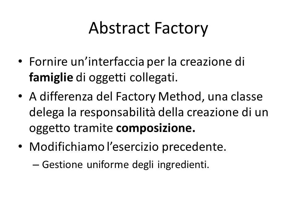 Abstract Factory Fornire un'interfaccia per la creazione di famiglie di oggetti collegati.