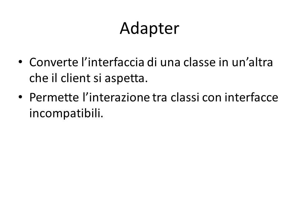 Adapter Converte l'interfaccia di una classe in un'altra che il client si aspetta.