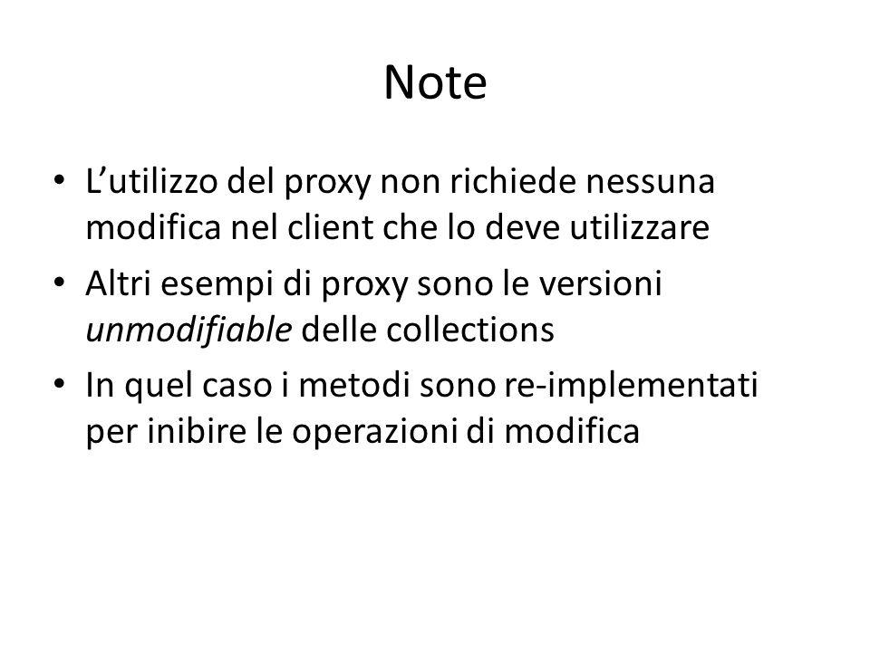 Note L'utilizzo del proxy non richiede nessuna modifica nel client che lo deve utilizzare.