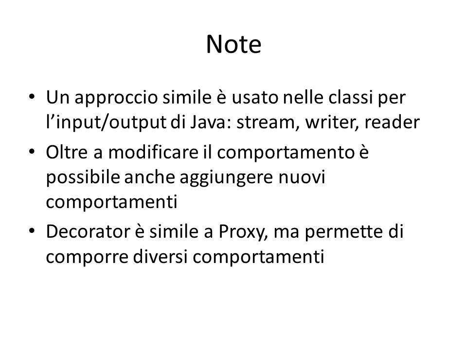 Note Un approccio simile è usato nelle classi per l'input/output di Java: stream, writer, reader.