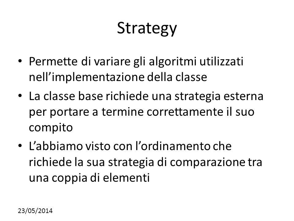 Strategy Permette di variare gli algoritmi utilizzati nell'implementazione della classe.