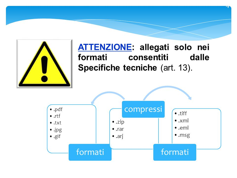 4 ATTENZIONE: allegati solo nei formati consentiti dalle Specifiche tecniche (art. 13). .pdf. .rtf.
