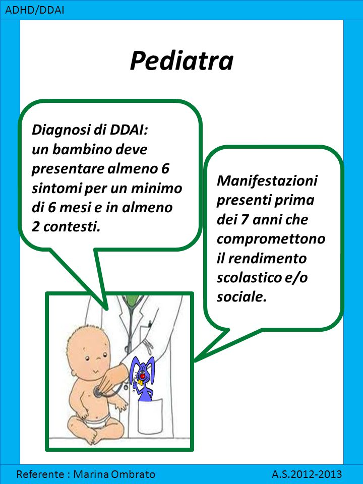 Pediatra Diagnosi di DDAI: