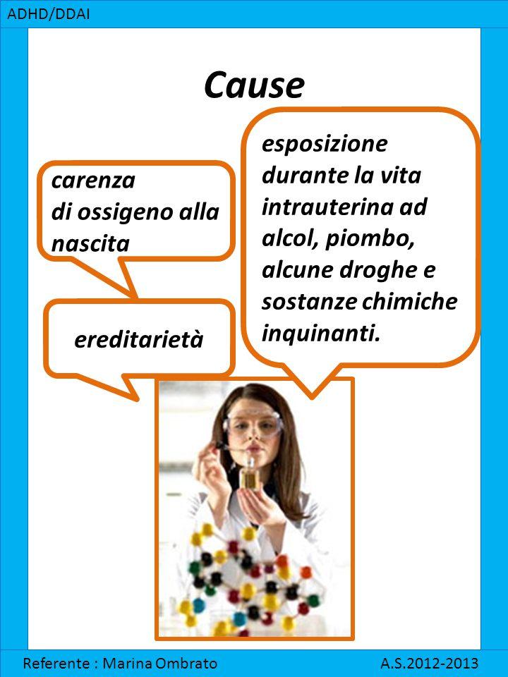 ADHD/DDAI Cause. esposizione. durante la vita intrauterina ad alcol, piombo, alcune droghe e sostanze chimiche inquinanti.