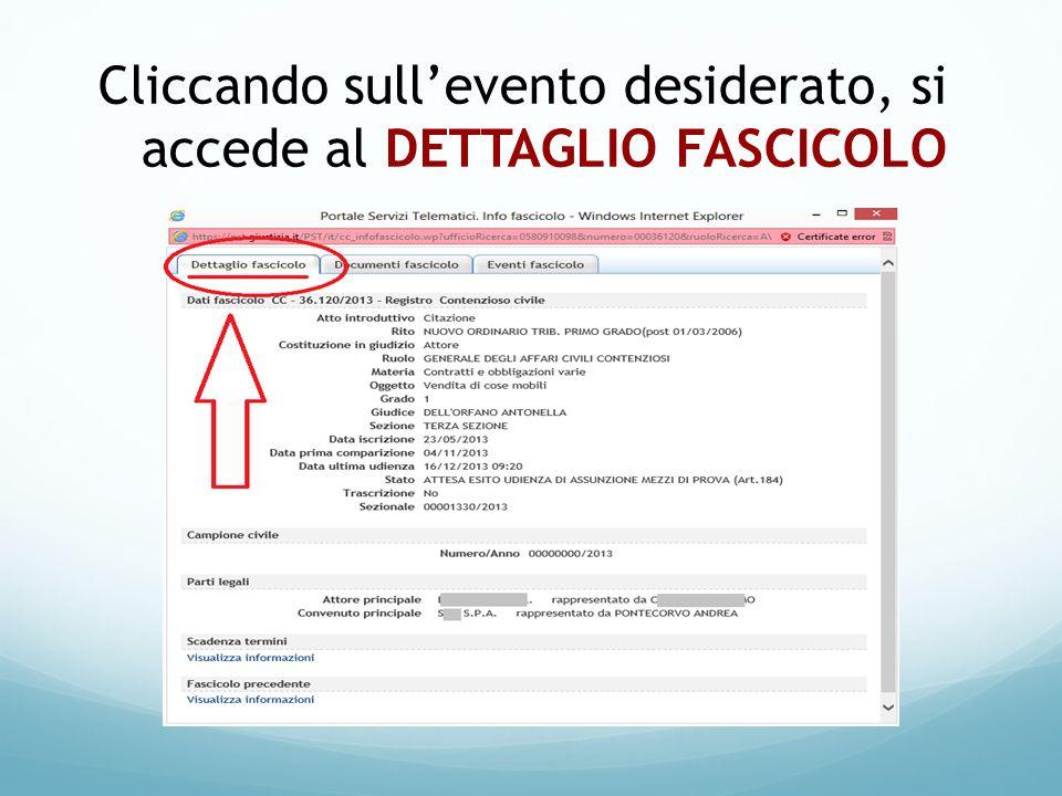 Cliccando sull'evento desiderato, si accede al DETTAGLIO FASCICOLO